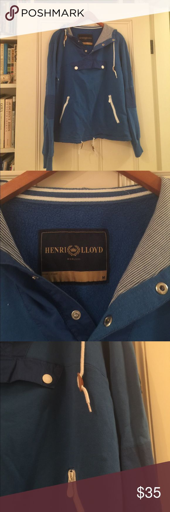 Henri Lloyd Blue Nautical Sweatshirt Size medium women's Henri Lloyd blue sweatshirt. Has two front zip pockets and a button front chest pocket. Blue and white striped hood, rope cinch around waist and hood, shoulder patch and elbow patches Henri Lloyd Tops Sweatshirts & Hoodies