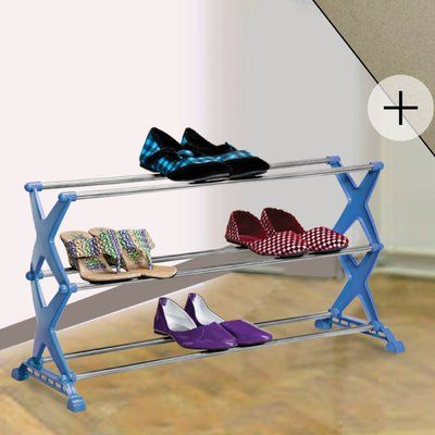Rebrilliant 3 Tier 12 Pair Stackable Shoe Rack and Laundry Hamper