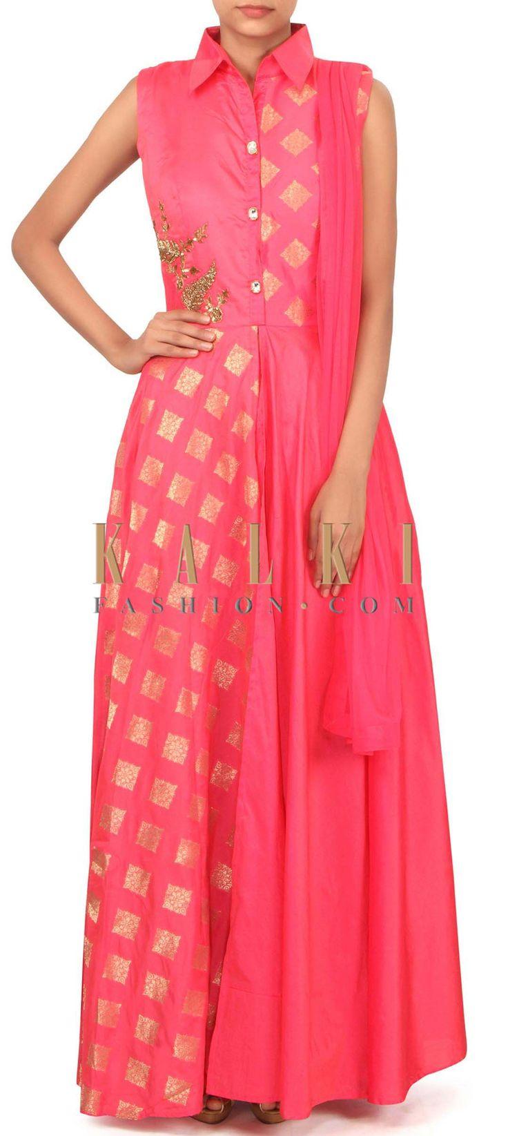 Pink anarkali suit embellished in zardosi butti only on Kalki