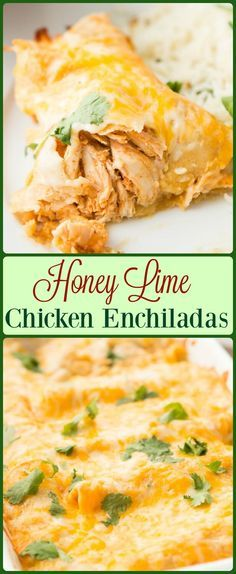 These Honey Lime Chicken Enchiladas have changed our view of Enchiladas forever. The marinated chicken and cheese are so good! http://ohsweetbasil.com via @ohsweetbasil