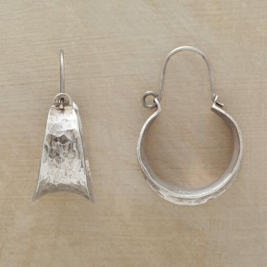 """DISCO HOOP EARRINGS--Shiny, shimmering hoops of hand-hammered sterling silver boldly bring back the audacious spirit of a not-so-bygone era. Concave contour. Exclusive.1-3/8""""L."""