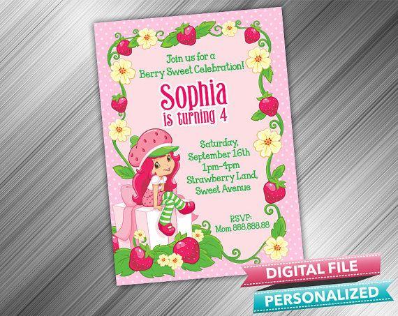 Strawberry Shortcake Invitation by kidspartydiy on Etsy, $5.99