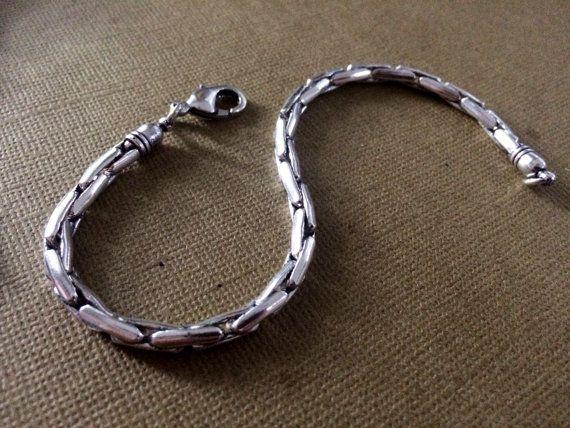 Argent Chain Link Bracelet homme Cuff Bijoux par taneesijewelry