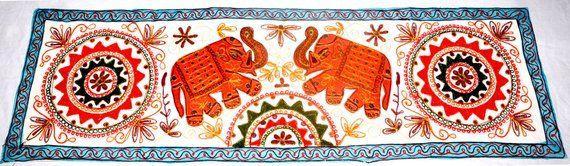 Indian Handmade Elephant Table Runner Decorative Tea Table Etsy Wall Tapestry Boho Boho Christmas Decor Handmade Elephant