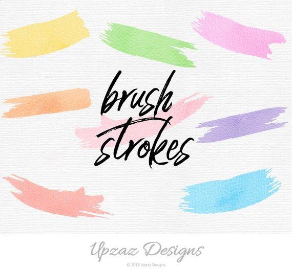 Pastel Watercolor Brush Strokes Clip Art Commercial Use Pb810