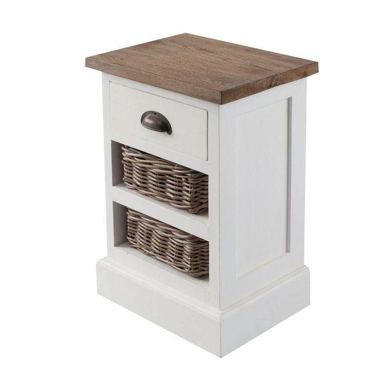 Noční stolek Milton 2 ratanové koše white & natural, 40x30x60cm - Dekoria