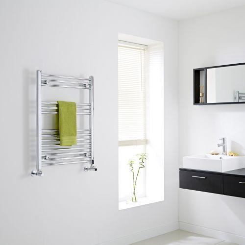 Milano Flat Chrome Heated Towel Rail 800mm X 600mm