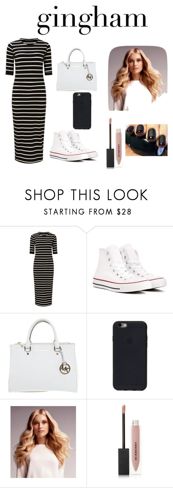 """monokrom 🎲"" by callmeje ❤ liked on Polyvore featuring Sugarhill Boutique, Converse, Michael Kors, BaByliss and Burberry"