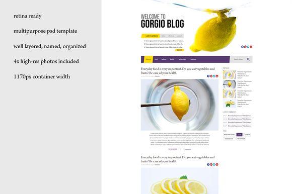 Lemon retina PSD blog template by Knofe on @creativemarket