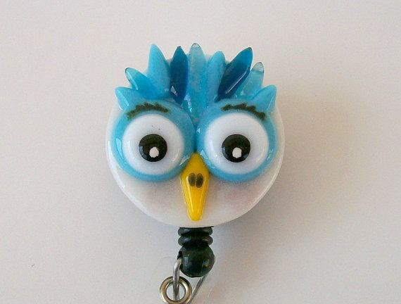 Hey, I found this really awesome Etsy listing at https://www.etsy.com/listing/213582881/fused-glass-owl-badge-holder-blue