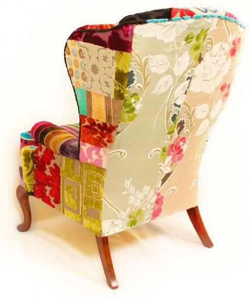 patchwork furniture--- I need to immediately do this to all our furniture!