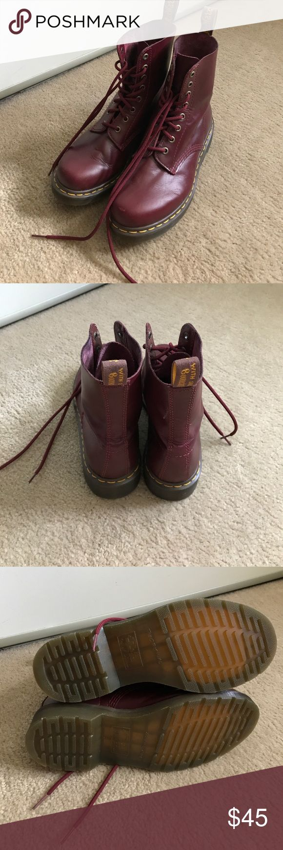 Women's Maroon Dr.Marten boots Size 8 red Dr.marten boots. In good condition. Only worn them once. Dr. Martens Shoes Combat & Moto Boots