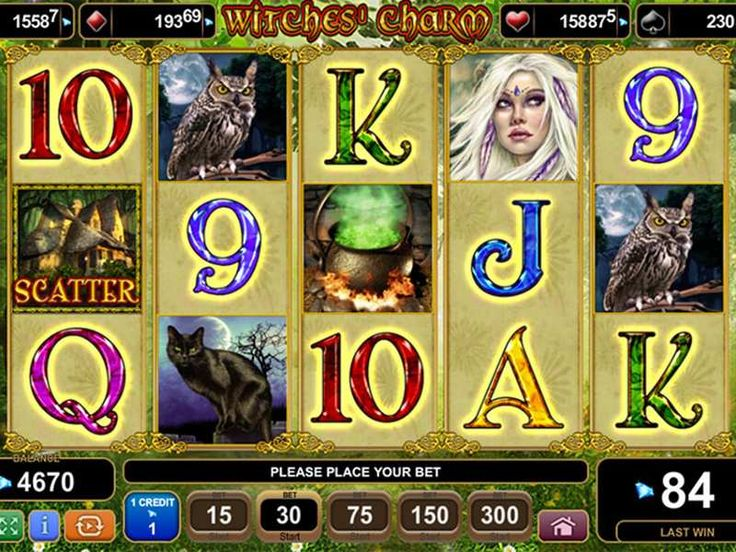 Tips to Win Playing Witches Charm  Witches Charm arrives to the gaming world with ample amount of winning slot feature settings. Here are some of the important symbols of the game:     Wild and Scatter Symbols   Medium to low paying symbols    Ways to Score a Win  Witches Charm game contains 15 paylines, and covers over 5 reels. http://free-slots-no-download.com/aristocrat/9309-witches-charm/