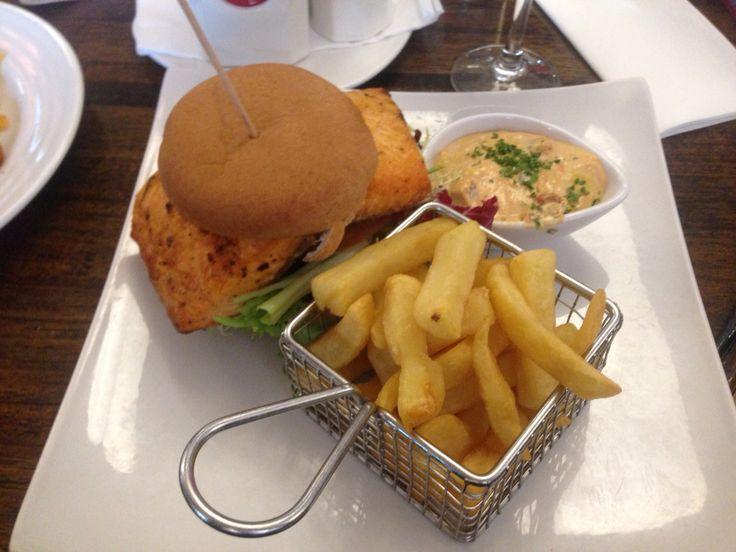 #glutenfree salmon burger at the Oaks Hotel Killarney county Kerry