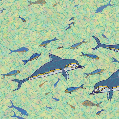 Dolphins of Akrotiri (fabric + wallpaper) by Su_G on Spoonflower.  This design is a re-interpretation of a fresco in the Minoan Palace of Knossos, Crete. © Su Schaefer 2012