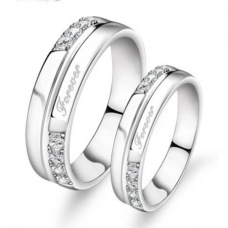 $66.95-925 Sterling Silver Forever Promise Rings For Couple(Price For a Pair) - USD $66.95