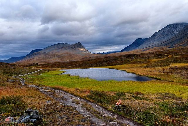 The Kungsleden trail is above the Arctic Circle in Sweden and runs 275 miles through four national parks.