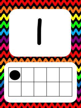 Tens Frame Number Posters 1-20 (Black Rainbow Chevron ...
