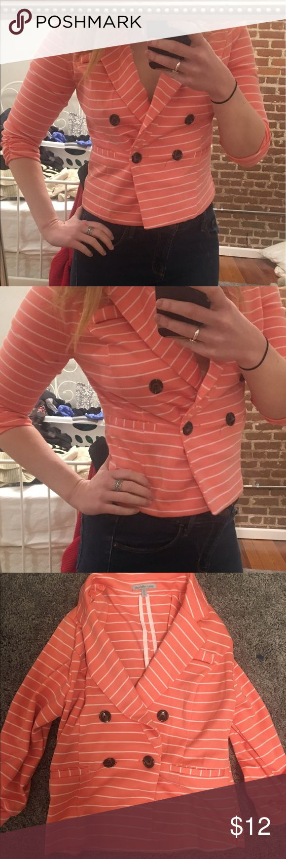 Peach Blazer Short peach blazer with white stripes! Can be casual or dressy Jackets & Coats Blazers