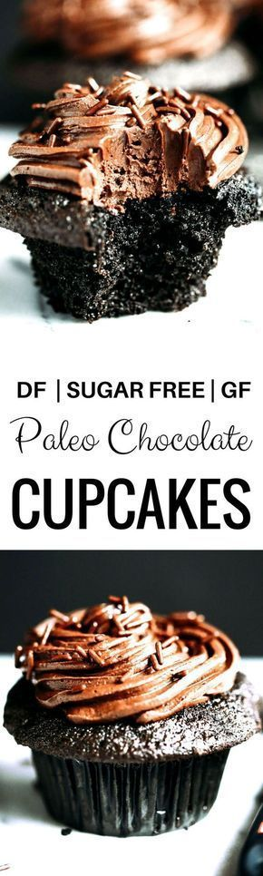 Paleo chocolate cupcakes-moist, but not eggy! These paleo cupcakes have a rich, dark chocolate taste and are covered in a whipped dairy free refined sugar free chocolate frosting! Coconut flour cupcakes. Best easy Paleo cupcakes. Paleo cupcakes recipes. Gluten free chocolate cupcakes. Gluten free coconut flour cupcakes. Dairy free healthy cupcakes.