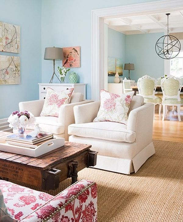 Living Rooms   Turquoise Aqua Blue Walls Great Colors For Girlu0027s Toy Room. Paint  Color Jute Living Rug White Armchairs Rustic Wagon Coffee Table Nailhead ...