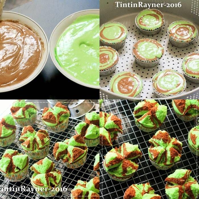 Resep Bolu Kukus Pandan Cokelat Mekar Semua Asian Steamed Cake Oleh Tintin Rayner Recept Zoete Snacks Indonesisch Eten Snacks