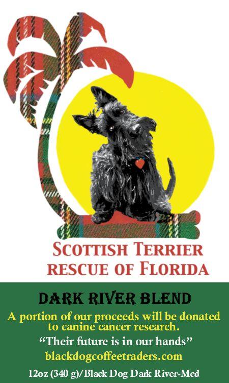 Black Dog Coffee Traders - Scottish Terrier Rescue of Florida Dark River (Med/Dark), $11.99 (http://stores.blackdogcoffeetraders.com/scottish-terrier-rescue-of-florida-dark-river-med-dark/)