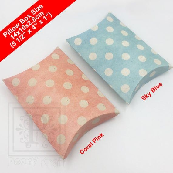 10pcs – Polka Dot Pillow Boxes, Blue Pillow Boxes, Wedding Pillow Boxes, Baby Shower Pillow Boxes, H