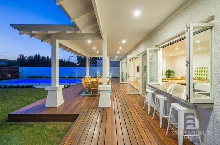 Strathmore | Scott Salisbury Homes Deck, pool and lawn