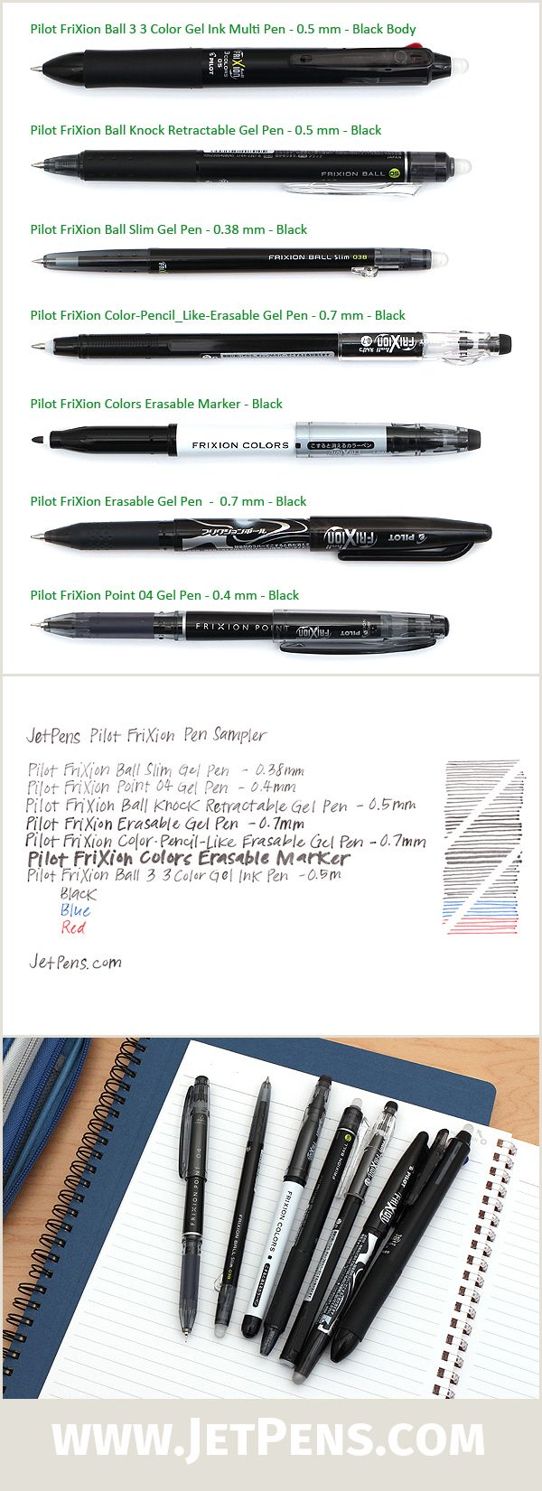 Our JetPens Pilot FriXion Pen Sampler features a variety of our favorite erasable FriXion pens!