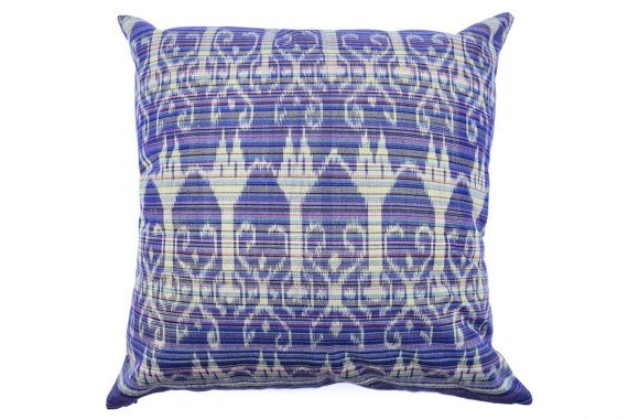 Blue Ikat Cushion Cover with Gold Thread 16 x 16 and by IkatPikat