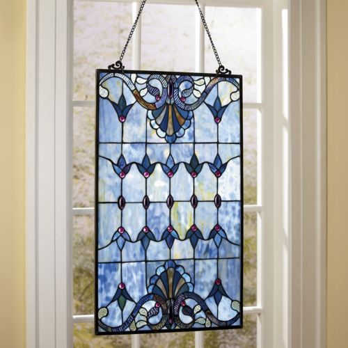 This is very pretty.  I think looking out of a stained glass window can be just as pretty as the natural scenery around you.    Albastru Stained Glass Window Panel from Through the Country Door®