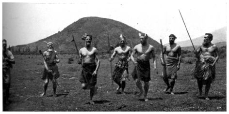 Ngati-Tuwharetoa veterans at Tokaanu, Lake Taupo, parading for peruperu (war-dance)