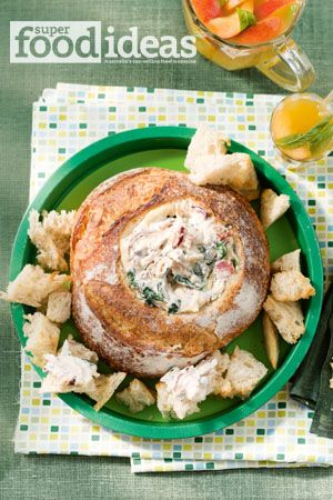 Bacon, basil and spinach cob loaf dip, page 77, February 2014 issue, Super Food Ideas. www.superfoodideas.com.au