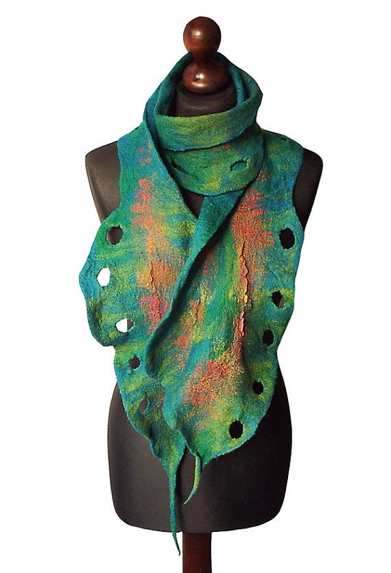 Felted scarf made from finest Australian merino wool and hand dyed cotton gauze. Lightweight and soft to the touch. Colors: shades of green, petrol blue, petrol green, emerald green, orange, red.  Size: length: 197cm (77,56) width: 9 - 27cm (3,54 - 10,63)  Visit my fan page on Facebook: www.facebook.com/pracownia.artystyczna.arteduo  More scarves you can find here: www.etsy.com/shop/MarlenaRakoczy?section_id=14901313&ref=shopsection_leftnav_1