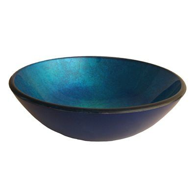 Novatto TIG-S132 Verdazzurro Fluorescent Blue Screen Painted Round Glass Vessel Sink with Foil Painted Bottom