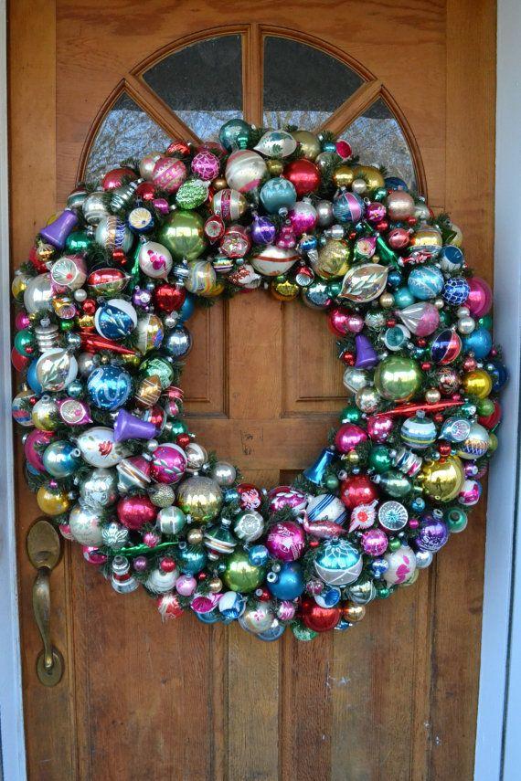 Beautiful Vintage Christmas Ornament Wreath! Huge 36 Christmas Wreath made with all Vintage by ShesCrafty121