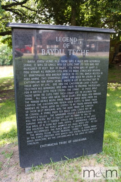 The Legend of the Bayou Teche as told in a marker along the bayou in downtown Breaux Bridge, Louisiana.