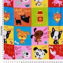 Novelty Fleece - Puppies in Patches on Fleece Fabric