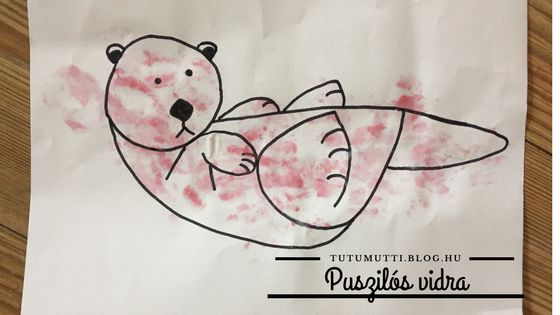 Tutumutti - Gyerekkel kreatívan blog / www.tutumutti.blog.hu / Puszilós vidra / Festés rúzzsal / Painting with lipstick / DIY and Crafts