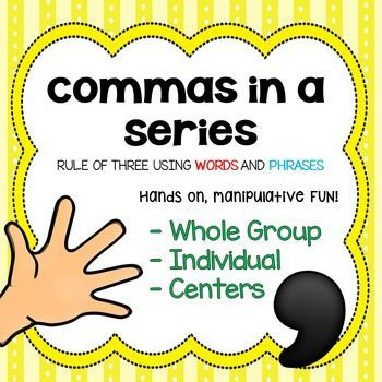 Commas in a Series SINGLE and PHRASES. Follow me at www.facebook.com/livelaughlovetoteach for EXCLUSIVE 50% opportunities.
