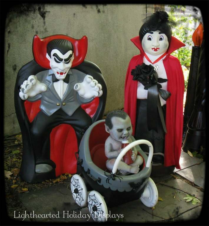 A Repurposed And Repainted Blowmold Vampire Family