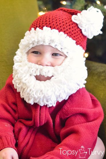 Santa hat with beard for kids, free crochet pattern.