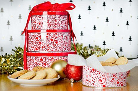 Amazon.com: StarPack Premium Christmas Cookie Tins Set of 3 - Decorative Cookie Gift Tins, Extra Thick Steel - Large, Medium and Small - Bonus 101 Cooking Tips: Kitchen & Dining