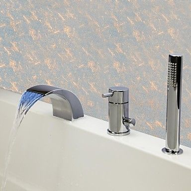 Contemporary Chrome Finish Three Holes Single Handle LED Waterfall Bathtub Tap with Hand Shower - LED Bath Taps - LED Taps http://www.plumpinguk.co.uk/contemporary-chrome-finish-three-holes-single-handle-led-waterfall-bathtub-tap-with-hand-shower-3196.html