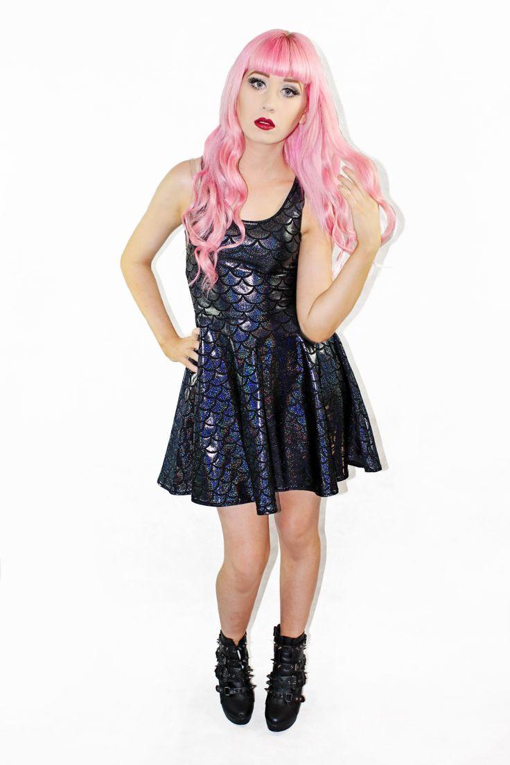 Black Mermaid skater dress