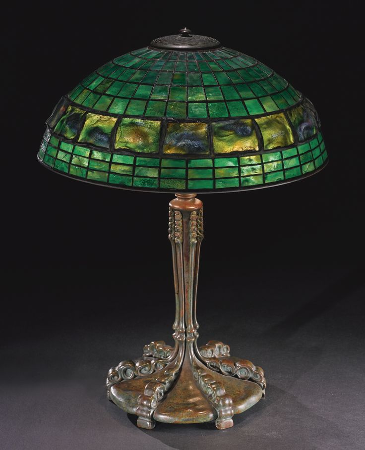"""** Tiffany Studios New York """"Turtle Back"""" leaded glass and patinated bronze table lamp."""