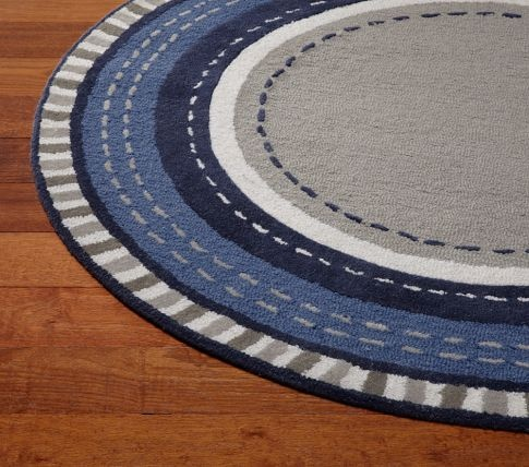 Pickstitch round rug pottery barn kids oh baby for Round rugs for kids