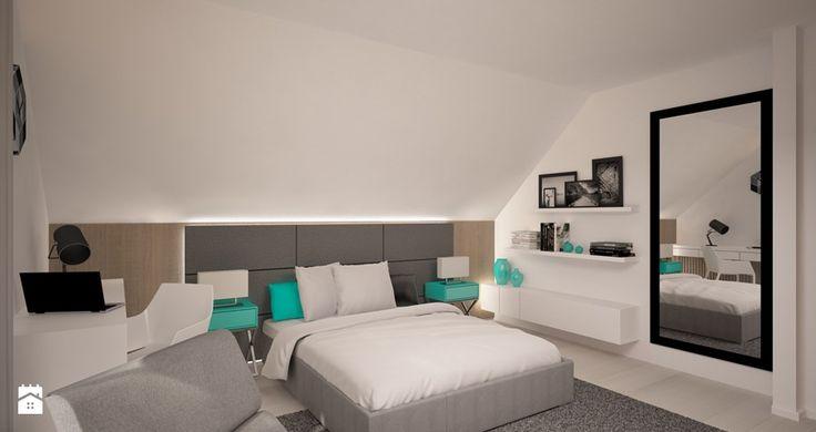 Sypialnia z turkusem Sypialnia - zdjęcie od 3ESDESIGN