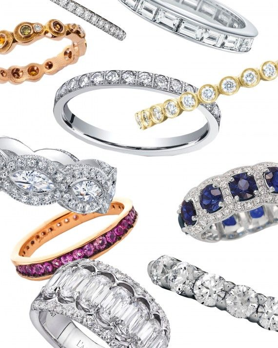 With the latest jewelry designs for the little diamond eternity band, a bride can now wear a symbol of her everlasting commitment—and of her style. The timeless silhouette featuring stones about its circumference is undergoing a renaissance, with new options featuring thicker widths, colored stones, rustic finishes, and so much more. Here, some of our favorites broken down by trend.